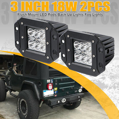 "2pcs 18W 5"" spot LED Work Light Bar Flush Mount ATV UTE SUV For Jeep 4WD 20W"