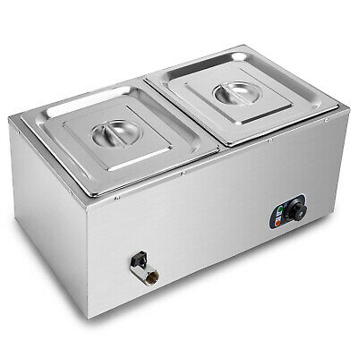 2-Pan Bain-Marie Buffet Countertop Food Warmer Steam Table Bath Warmer