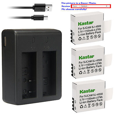 Kastar Battery Dual USB Charger for Eken PG1050 & Eken H9 Eken H9R Camera