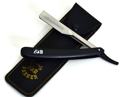 100 Blades Classic Barber Straight Razor Cut Throat Pp Handle Black Salon Lord