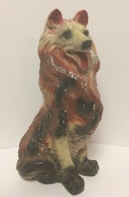 "VINTAGE 12"" Chalkware CARNIVAL Prize COLLIE / Chalk Dog Coin Bank STATUE LASSIE"