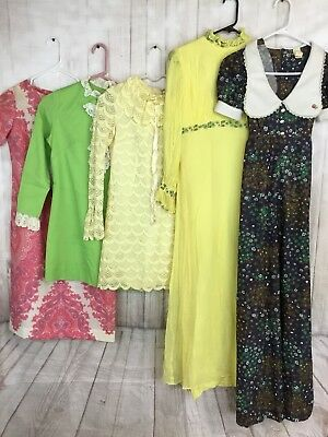 Vintage 1960's - 70's Dresses Mod Silk Pink Yellow A Line Prairie Long LOT OF 5