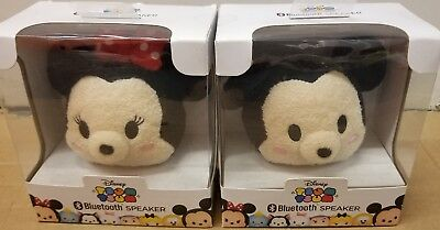 Bundle! 2 Disney Tsum Tsum Mickey & Minnie Mouse Plush Bluetooth Speakers NEW