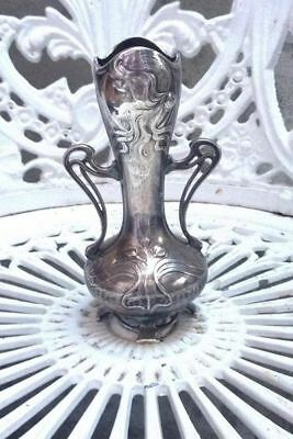 superb art nouveau vase with glass insert(missing ) with girl hallmarks on base