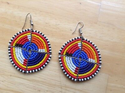 African-Arena Handamde Maasai Masai Beaded Round Fashion Earrings AA88