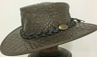 Jacaru Water Repellent Crocodile print leather hat  Exotic  hats SPECIAL