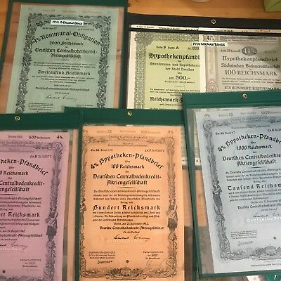 German Bonds Lot of 6 Government War Bonds Set of 6