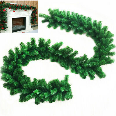 9ft 27cm Garland Christmas Decor Xmas Fireplace Tree Pine Leaves Wreaths Ribbon
