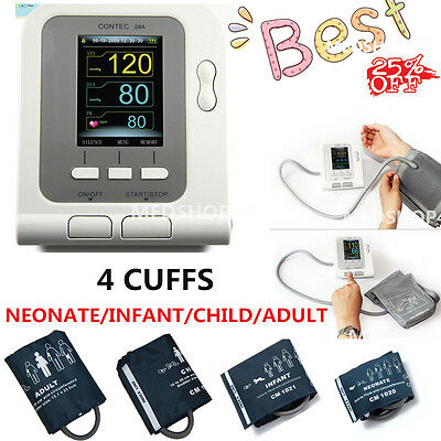 US,Digital Blood Pressure Monitor CONTEC08A+Neonatal/Pediatrics/Child/Adult cuff