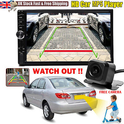 7inch Double 2din Car Mp5 Mp3 Player Bluetooth Touch Stereo Radio FM/AM +Camera