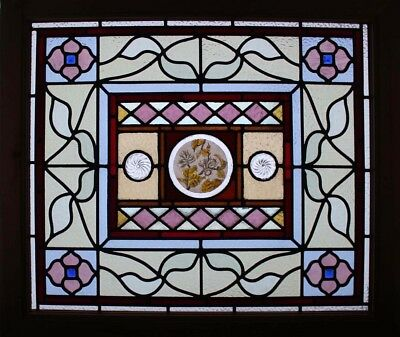 Beautiful Large English Painted Acorns Stained Glass Window Spiral Rondels