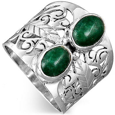 925 Sterling Silver Filigree Ring Natural Emerald Gemstone Women Jewelry Size 7