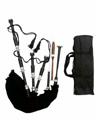 Scottish Highland Bagpipes full silver mounts Black finish with Carry Bag