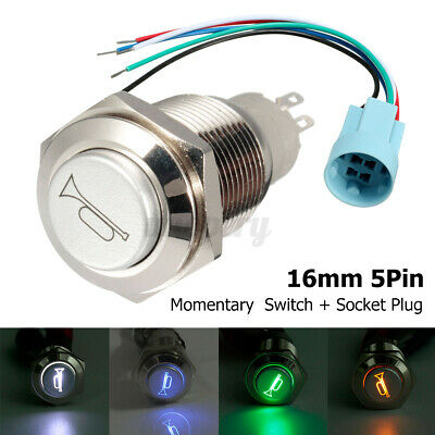 12V 16mm Car Boat Momentary Push Button Horn Switch ON OFF LED Socket Connector