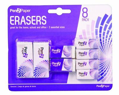 24 x 8 Pack White Eraser Set - 3 Assorted Sizes - Super Value Pack - Wholesale B