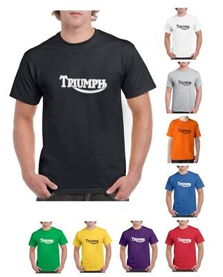 Triumph Classic Logo T-shirt Motorcycle Vintage Bike Cafe Racer Indian (S-2XL)