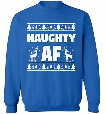 834ab29ea Naughty AF Sweatshirt Naughty or Nice Ugly Christmas Sweater Reindeer  Sweater