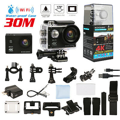 """Sports Camera 4K 16MP WiFi FHD 2"""" LCD Underwater 170° Action Camcorder Recorder"""
