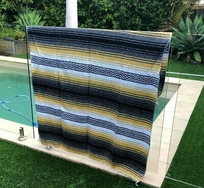 NEW Yellow Mexican Blanket Serape Throw, Mexican Yoga Boho Falsa Blanket Western