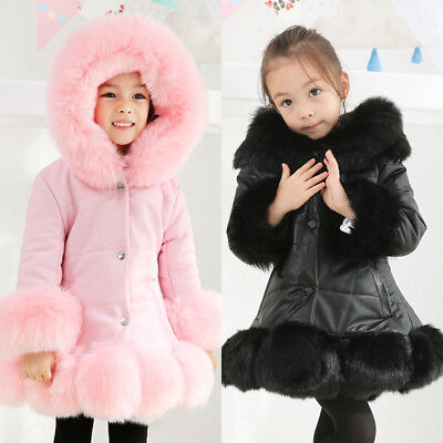 Girls Kids Padded Quilted Winter Coat Jacket Puffer Fur Hooded Long Parka Coats