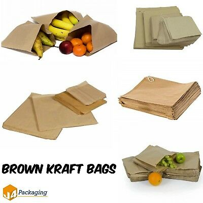 Brown Kraft Strong Paper Food Bags for Sandwiches Groceries etc All Sizes Flat