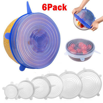 6 X Super Stretch Lids Silicone Covers Universal Food Covers Lids Easy Fit C9J7
