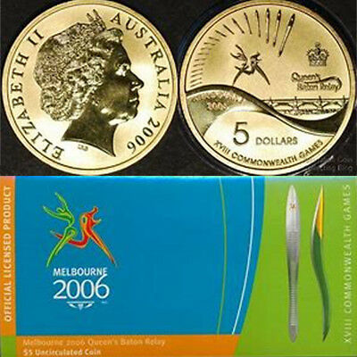 Australian 2006 Bronze $5 Coin Melbourne Cwlth Games Queens Baton Relay & Folder