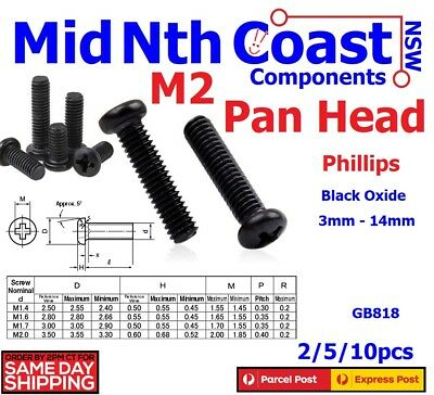 2/5/10pc M2 3mm ~ 14mm Micro Phillips Pan Head Bolts Phillips Black Oxide Metric