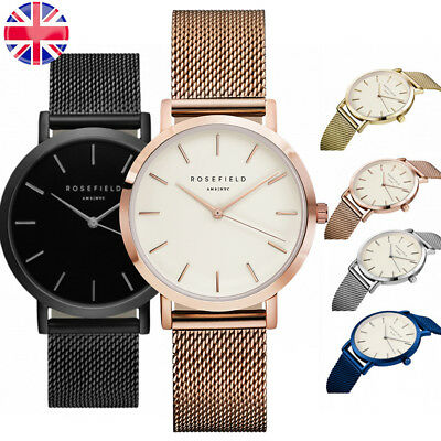 UK Womens Ladies Rose Gold Stainless Steel Mesh Band Wrist Watch Christmas Gift