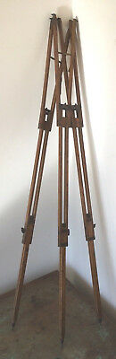 Antique Victorian or Edwardian Oak Camera Tripod Stand, Uprights Only