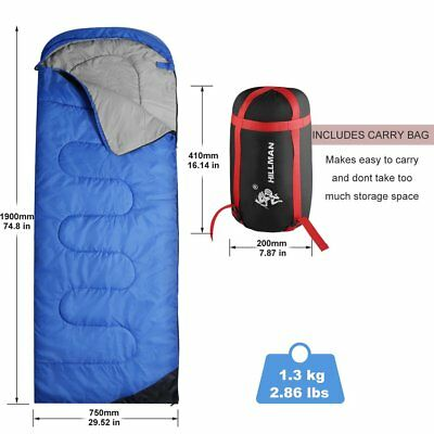 Outdoor Cotton Flannel Backpacking Sleeping Bag for Adults Camping Envelope Blue