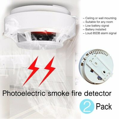 2 x NEW Wireless Smoke Detector Fire Alarm Sensor System Ionisation UK Seller