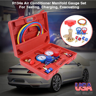 NEW 12PCS Manifold Vacuum Dual Gauge Set R134a A/C AC HVAC Refrigeration KIT US