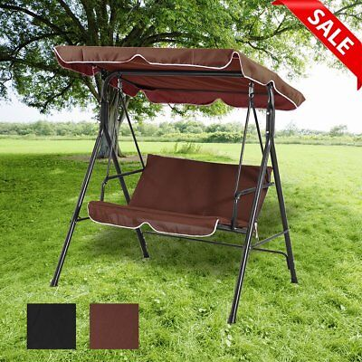 2 Seater Garden Swing Chair With Canopy Outdoor Patio Swinging Bench