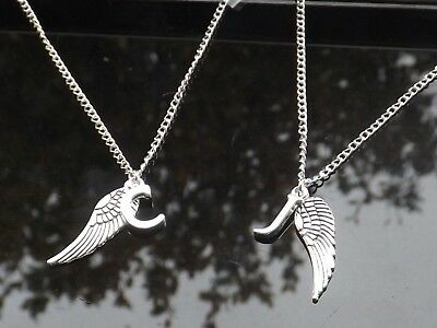 "Personalised Initial 20"" Necklace Guardian Angel Wing & Silver Plated Letter"