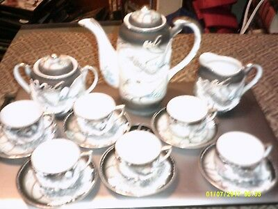 DRAGONWARE TEA SET 15 piece set small chip on teapot otherwise perfect