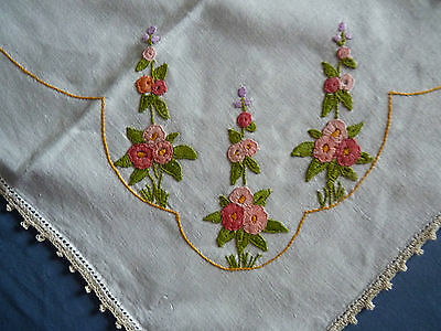 GORGEOUS PINK HOLLYHOCKS Vintage Embroidered Large Table Centre or Runner