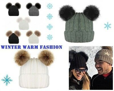 Ladies Girls Ribbed Beanie Hat Twin Faux Fur Pom Pom Beanie Designer Style Hats