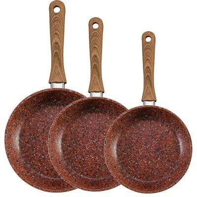JML Copper Stone Pans Non-Stick & Hard Wearing Wood Effect Handle - 20/24/28cm