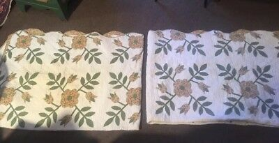 Vintage Pair Of Twin Size Quilts With Flowers