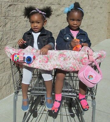 Twin Shopping Cart Cover for Girls - pink flowers