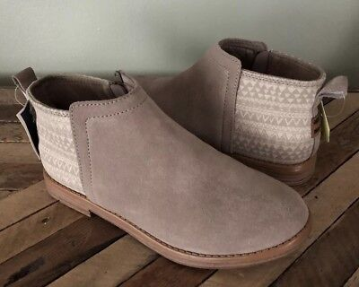 436c2d8019c NWT Girls TOMS Deia Ankle Boots Taupe Beige Suede Booties Shoes Size 4.5  Youth