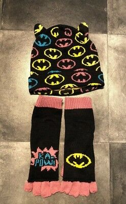 Kids Batman Batgirl Hat And Gloves. Fingerless Gloves. Large Kids Approx 7-10