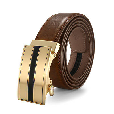 Luxury Men's Ratchet Leather Belt With Automatic Buckle Waistband Up to 43''