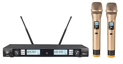 Dual Wireless Cordless Microphone System UHF Professional 2 Golden Handheld mics