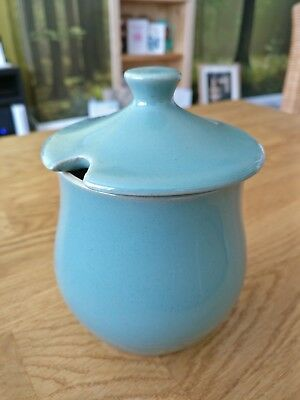 Denby Manor Green Stoneware Sugar Bowl / Jam Preserve Pot with Lid