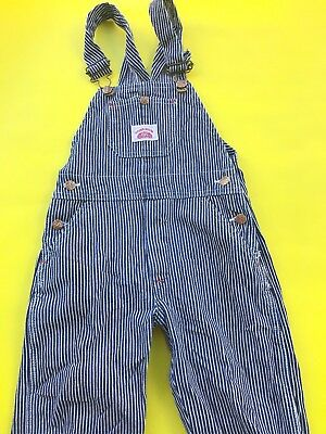 Vintage Kids Hickory Stripe Blue American White Kitsch Overalls Dungarees 6 7 8