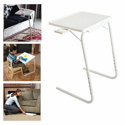 Foldable Portable Table Adjustable Tray Laptop Desk TV Dinner Bed W/Cup Holder
