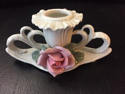 Vintage Candle Holder Karl ENS Porcelain Pink Rose Decorative Germany Wedding