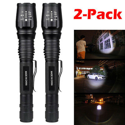2 x Ultrafire 90000 Lumen 5-mode T6 Zoomable 18650 LED Flashlight Torch Light US